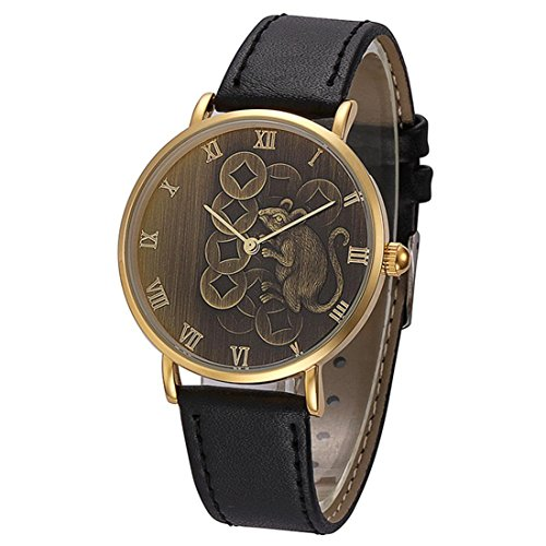 Mens Watches Sports Xjp Fashion Casual Analog Quartz Wristwatch Leather Band with Mouse Pattern