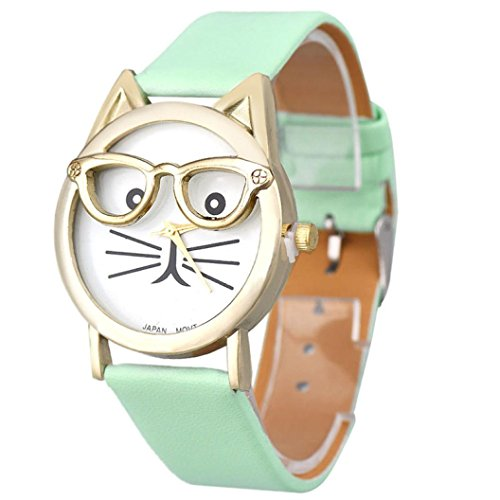 Watches for Girls Xjp Cute Glasses Cat Dial Analog Quartz Wristwatch