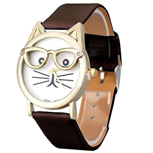 Watches for Teen Girls Xjp Cute Glasses Cat Dial Analog Quartz Wristwatch with Leather Strap