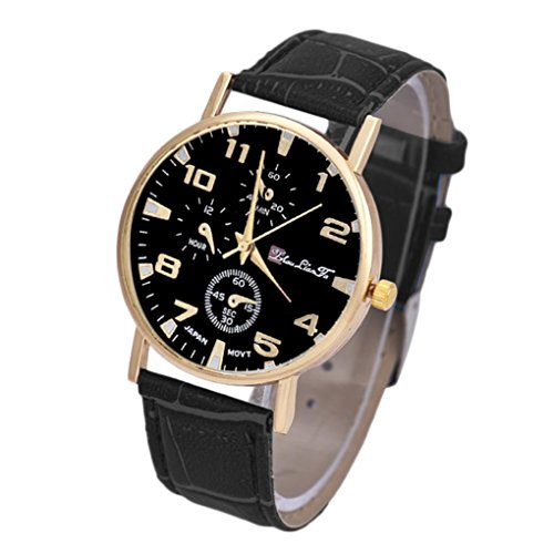 Mens Watches Xjp Round Watch Case Leather Strap Dial Analog Quartz Wriswatches