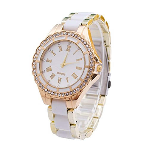 Womens Watches White Xjp Casual Roman Numerals Stainless Steel Band Wristwatch