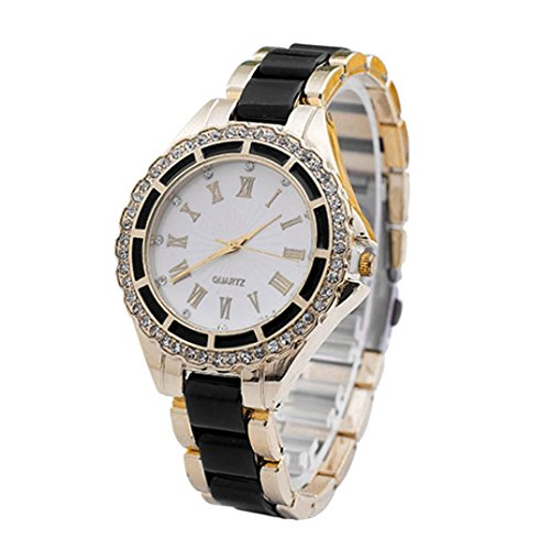 Womens Watches Black Xjp Casual Roman Numerals Stainless Steel Band Wristwatch