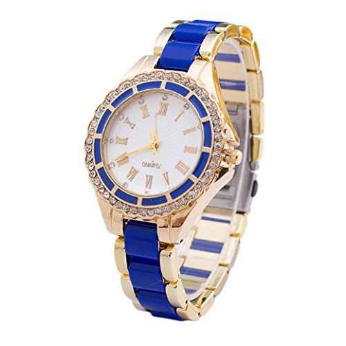 Womens Watches Blue Xjp Casual Roman Numerals Stainless Steel Band Wristwatch