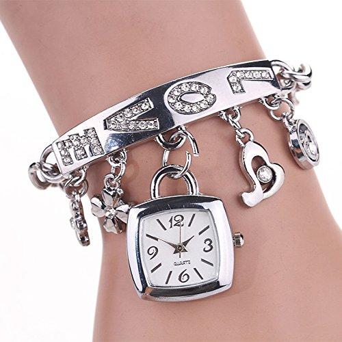 Watches for Girls Xjp Fashion Analog Quartz Rhinestone Bracelet Wristwatch Silver