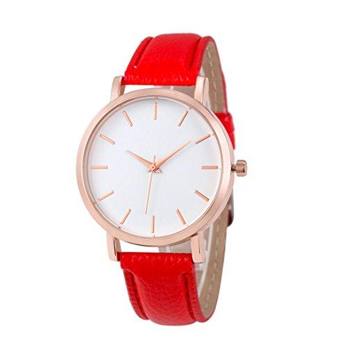 Womens Watch Leather Strap Xjp Casual Analog Quartz Wristwatch Red