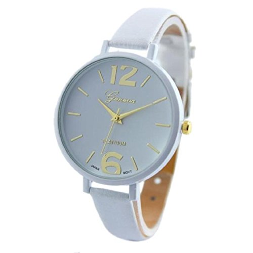 Womens Watch Xjp Analog Quartz Wristwatch with Hook Buckle Leather Strap White