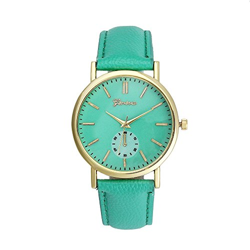 Womens Watch Blue Xjp Casual Analog Quartz Watches with PU Leather Strap