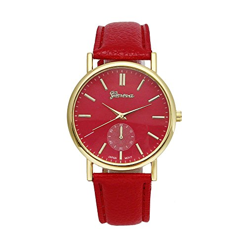 Womens Watch Red Xjp Casual Analog Quartz Watches with PU Leather Strap