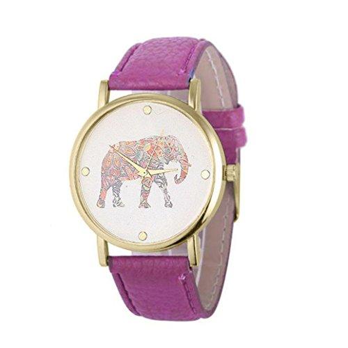 Womens Wristwatches Xjp Art und Weise und Beilaeufiges Leder Buegel mit Elefant Drucken Muster