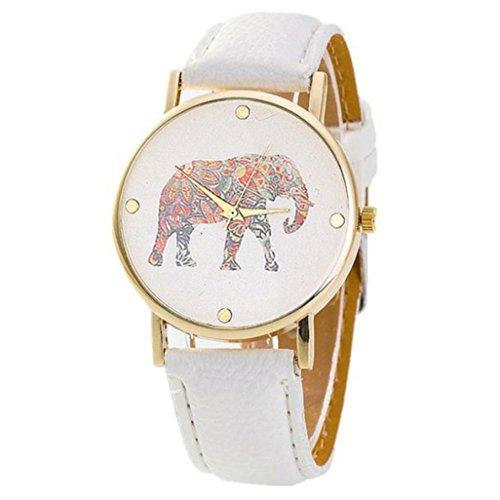 Womens Wristwatches White Xjp Art und Weise und Beilaeufiges Leder Buegel mit Elefant Drucken Muster