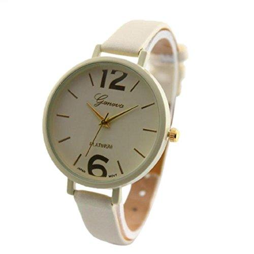 Uhren fuer Frauen Xjp Analoge mit Hakenschnalle Lederband Beige