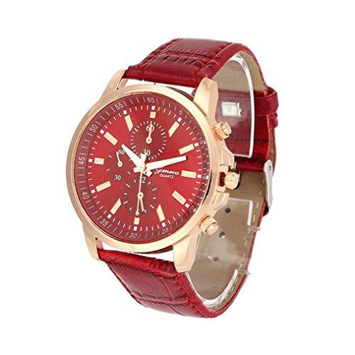 Xjp Unisex Armbanduhren Beilaeufige analoge Quarz Uhr mit Ledernem Buegel