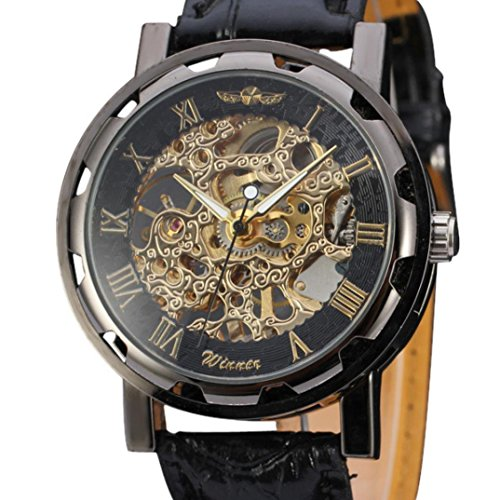 Mens Watches Xjp Automatic Mechanical Skeleton Wristwatches Leather Watch Band Black
