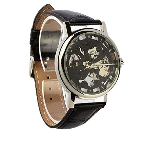Watches for Men Xjp Sport Automatic Watch Self winding Skeleton Mechanical Wristwatches with Leather Strap