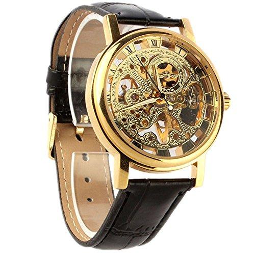 Uhren fuer Maenner Xjp Sport Automatische Uhr Self Winding Skelett Mechanische Armbanduhren mit Lederband