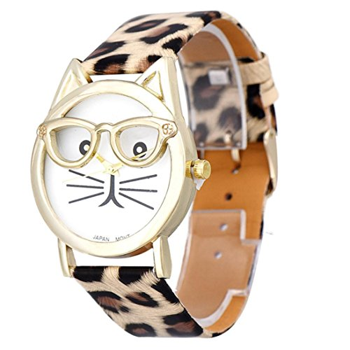 Uhren fuer Teen Girls Xjp Casual Glasses Cat Dial Analog Quartz Wristwatch with Leather Band