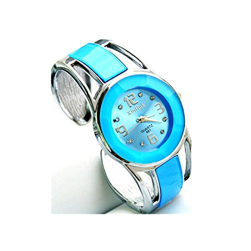 Xjp Casual Womens Watches Bracelet Alloy Band Analog Quartz Wristwatch Gifts Sky Blue