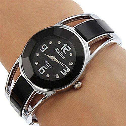 Xjp Casual Womens Watches Bracelet Alloy Band Analog Quartz Wristwatch Gifts Black