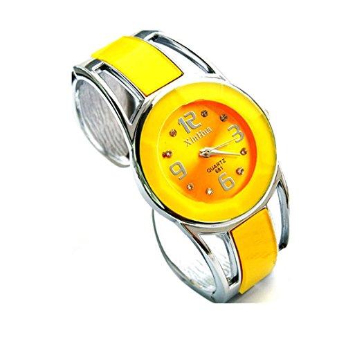 Xjp Casual Womens Watches Bracelet Alloy Band Analog Quartz Wristwatch Gifts Yellow