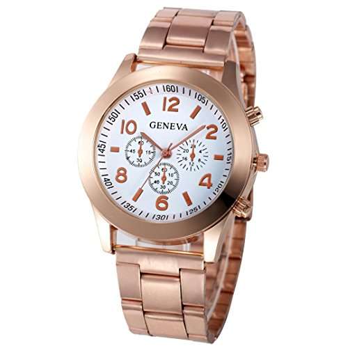 Xjp Casual Womens Watches Precise Quartz Analog Watches with Stainless Steel Band White