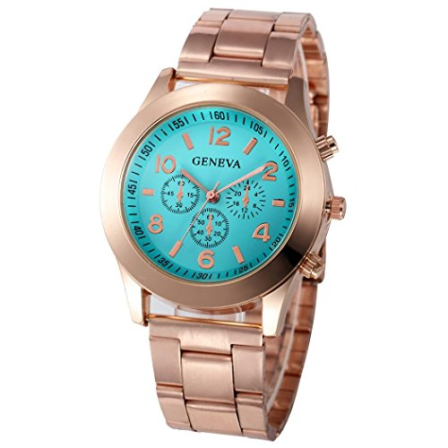 Xjp Casual Womens Watches Precise Quartz Analog Watches with Stainless Steel Band Sky Blue