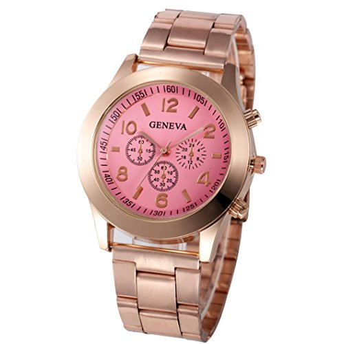 Xjp Casual Womens Watches Precise Quartz Analog Watches with Stainless Steel Band Pink