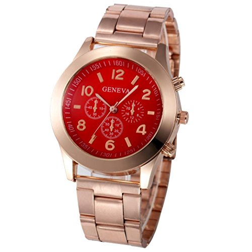 Xjp Casual Womens Watches Precise Quartz Analog Watches with Stainless Steel Band Red