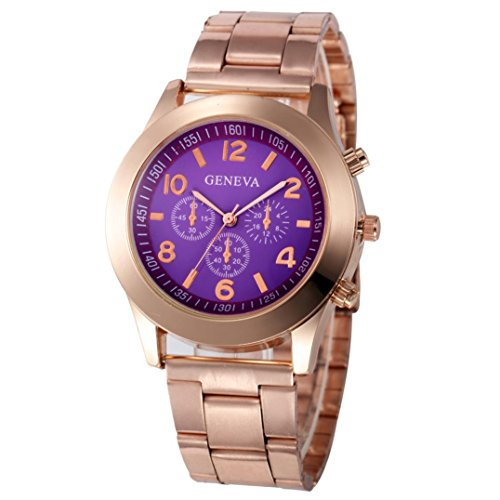 Xjp Casual Womens Watches Precise Quartz Analog Watches with Stainless Steel Band Purple
