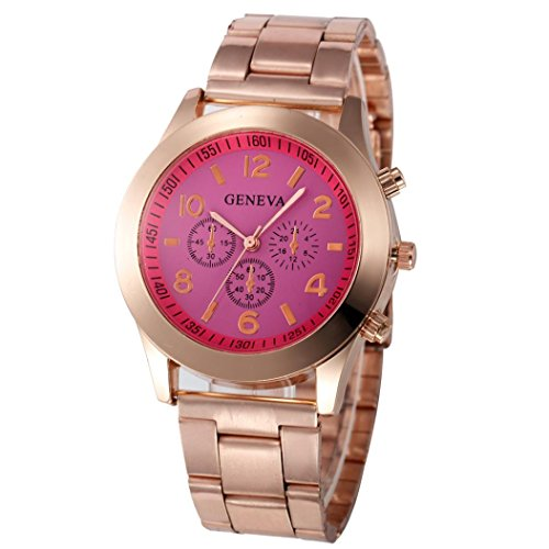 Xjp Casual Womens Watches Precise Quartz Analog Watches with Stainless Steel Band Hot Pink