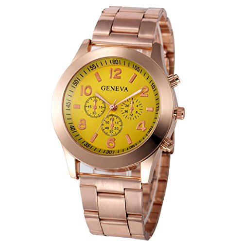 Xjp Casual Womens Watches Precise Quartz Analog Watches with Stainless Steel Band Golden