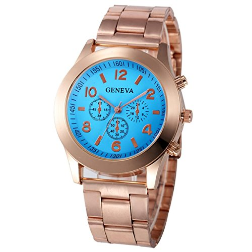 Xjp Casual Womens Watches Precise Quartz Analog Watches with Stainless Steel Band Blue