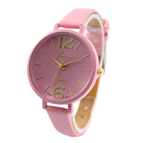 Xjp mit Analog Quartz Armbanduhr Lederarmband Pink
