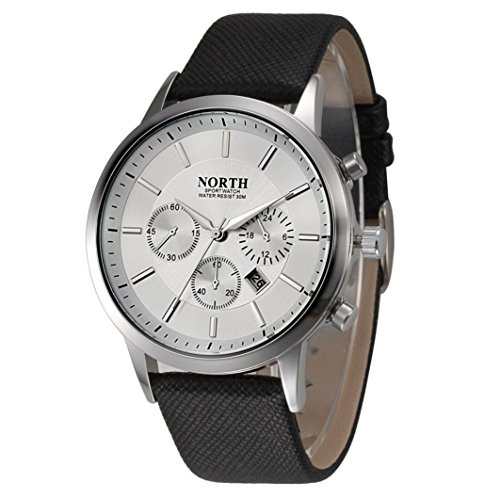Mens Watch Sports Xjp Fashion Casual Analog Quartz Calendar Wristwatch with Leather Band White