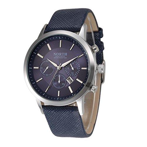 Mens Watch Sports Xjp Fashion Casual Analog Quartz Calendar Wristwatch with Leather Band Blue