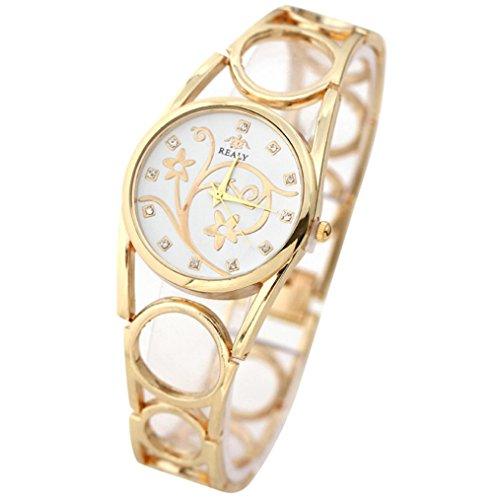 Xjp Fashion Womens Watches Bracelet Analog Quartz Wristwatch Golden