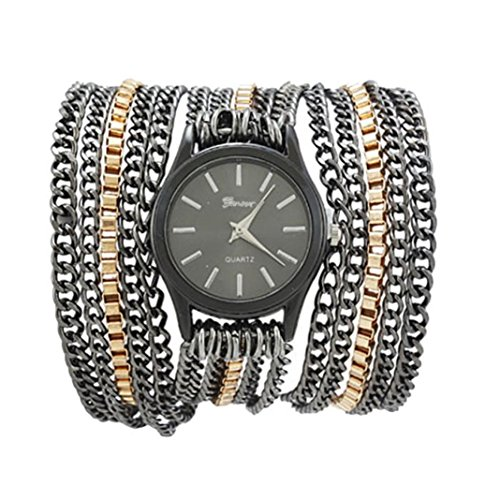 Xjp Fashionable Watches Bracelet Wristwatch with Alloy Chain Band Black