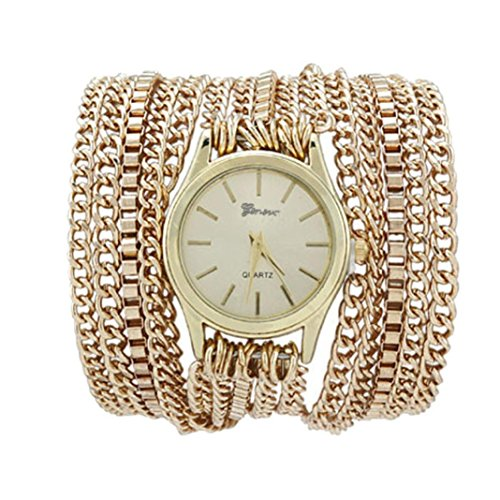 Xjp Fashionable Watches Bracelet Wristwatch with Alloy Chain Band Golden
