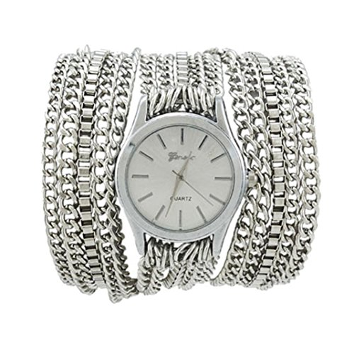 Xjp Fashionable Watches Bracelet Wristwatch with Alloy Chain Band Silver