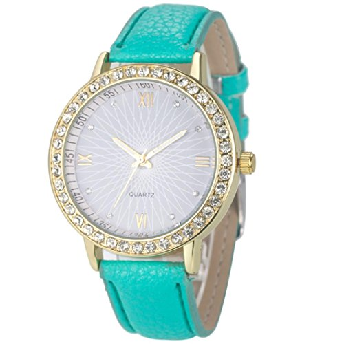 Xjp Ladies Wristwatches Rhinestone Quartz Watch with Leather Strap