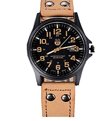 Xjp Uhren fuer Maenner Retro Quartz Analog Sport Armbanduhr mit Lederband