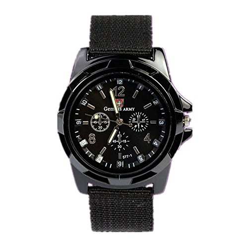 Xjp Mens Sports Analog Watches with Woven Watch Strap Black