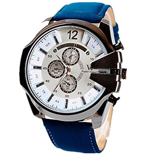 Xjp Freizeit Sport Armbanduhr mit Edelstahl Gehaeuse und Lederband