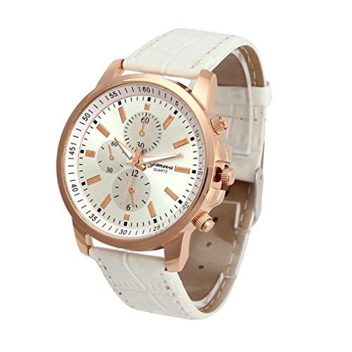 Xjp Unisex Watch Quartz Analog Wristwatch with Leather Band