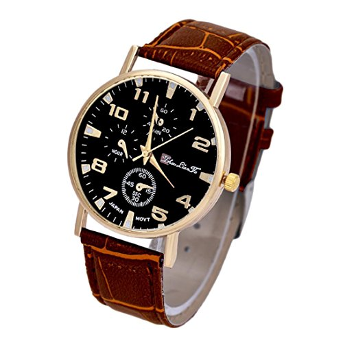Xjp Mens Watches Round Case Dial Analog Quartz Wriswatches Leather Strap