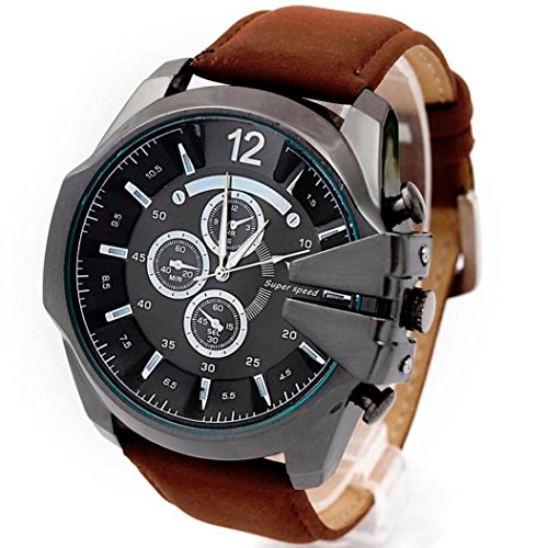 Xjp Mens Sports Watches Leisure Wristwatch with Stainless Steel Case and Leather Strap