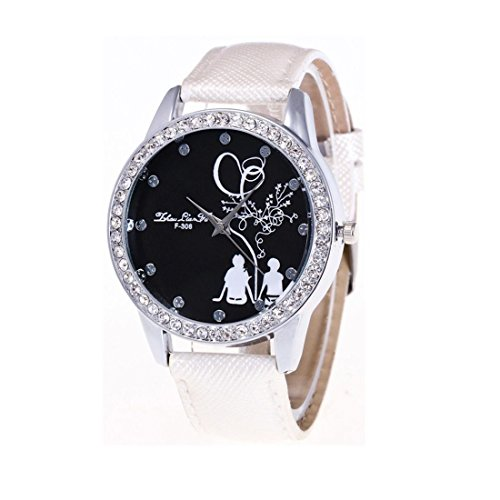 Xjp Casual Watches Analog Quartz Rhinestone Wristwatch with PU Leather Band for Lovers White