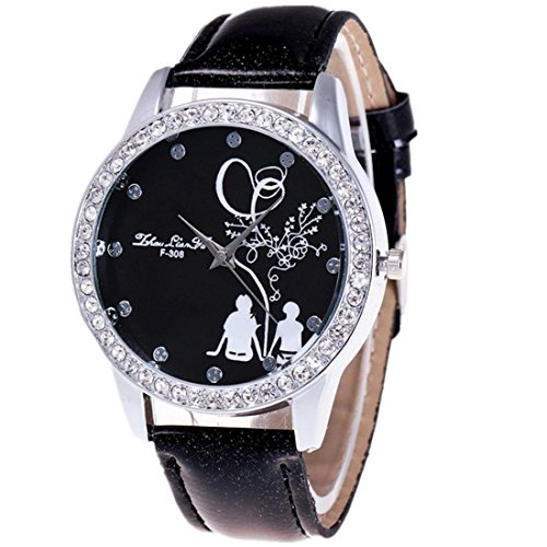 Xjp Casual Watches Analog Quartz Rhinestone Wristwatch with PU Leather Band for Lovers Black