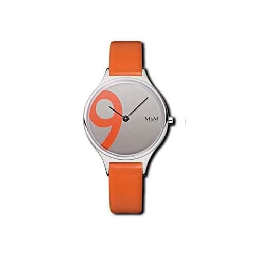 Damenuhr Quarz Stahl Lederband orange
