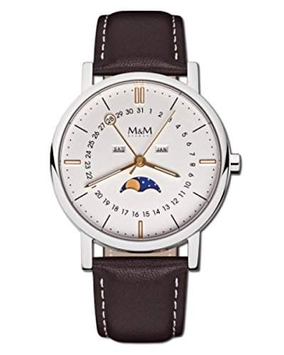 M&M Damen- und Herrenuhr Lederband M11919-562 MOONPHASE 229