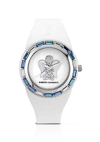 Armbanduhr Frau ROBERTO Giannotti ant17 mit Silikonarmband Weiss Engel